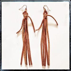handmade genuine leather copper fringe earrings